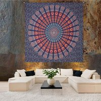 Naptol Print Indian 100% Cotton Handmade Peacock Mandala Bohemian Wall Hanging Home Decor Bedspread Bedsheet Tapestry