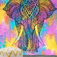 Multi colored Tie Dye Valentina Harper Ruby The Asian Elephant Tapestry Wall hanging