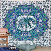 Blue Green Round Elephant Mandala Wall Tapestry Elephant Throw