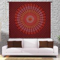 Home Decor Indian 100% Cotton Handmade Naptol Print Peacock Mandala Bohemian Wall Hanging Bedspread Bedsheet Tapestry