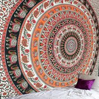 Orange Black Queen Round Elephant Hippie Mandala Tapestry