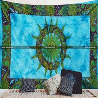 Turquoise Blue Tie Dye Sun Tapestry Wall Hanging Wall Tapestry