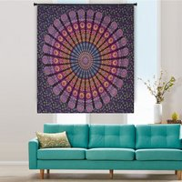 Bohemian Indian 100% Cotton Handmade Naptol Print Peacock Mandala Wall Hanging Home Decor Bedspread Bedsheet Tapestry