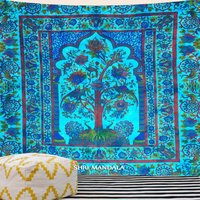 Pleasant Blue Green Tie Dye Tree Of Life Tapestry Wall Hanging