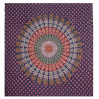 Wall Hanging Indian 100% Cotton Handmade Naptol Print Peacock Mandala Bohemian Home Decor Bedspread Bedsheet Tapestry