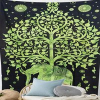 Elephant Tree of Life Tie Dye Cloth Tapestry Wall Hanging
