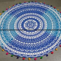 Blue and White Ombre Round Mandala Beach Throw Blanket