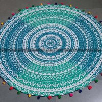 Green White Ombre Round Mandala Beach Blanket