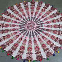 Pink Maroon Round Mandala Beach Throw