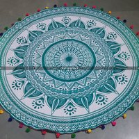 Sea Green Big Flower Mandala Roundie Beach Throw