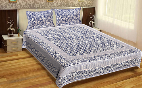 Flower Design King Size Indian Printed jaipuri 100% Cotton Printed Bedsheet Tapestry
