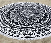 Ombre Round Mandala Beach Throw Tapestry Beach Towel