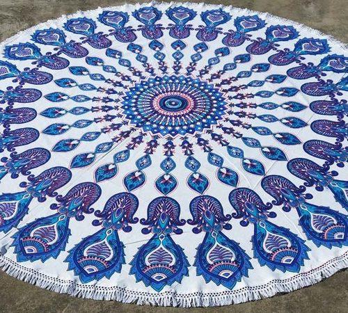 Blue Fish Mandala Beach Throw Cotton Tapestry with Tassels