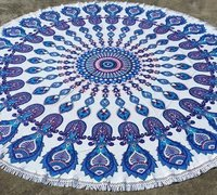 Blue Fish Mandala Beach Throw Cotton Tapestry with Tassels
