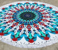 Colorful Round Mandala Beach Towel With Tassels 72 Inches Roundies