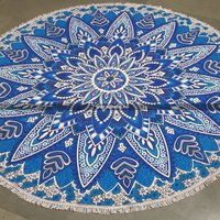 Blue Sun Flower Round Mandala Tapestry with Tassels
