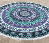 Light Green and Purple Elephant Mandala Round Beach Throw Tapestry with Tassels