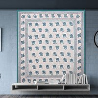 Printed Indian Jaipuri 100% Cotton Flower Design King Size Bedsheet Bedspread