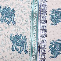 Printed Indian Jaipuri 100% Cotton Flower Design King Size Bedsheet Bedspread
