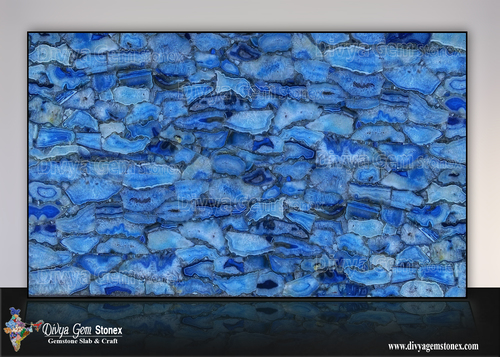 Blue Crystal Agate Slab