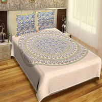 Hand Block Printed Jaipuri Design Mandala Sanganeri Bedsheets / Wholesale Bedsheets with pillows