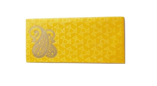 Parvenu Shagun Decent Kerry Envelope in Yellow Color.