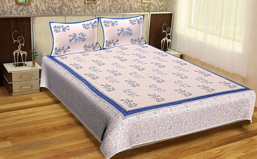Wholesale Jaipuri Design Hand Block Printed Sanganeri Bedsheets Bedsheets with Pillows