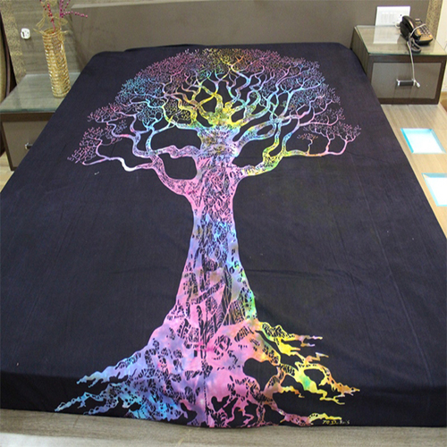 Tree Of Life Meditative Tie And Dye Indian 100% Cotton Black Base Multi color Wall Hangings Tapestry