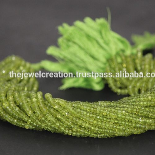 Natural Peridot Stone Faceted Rondelle Beads Gemstone Craft Supply`