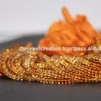 Natural AAA Citrine Gemstone Shaded Smooth Rondelle Beads