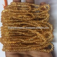 Natural Yellow Citrine Stone Plain Rondelle Beads Gemstone Strand