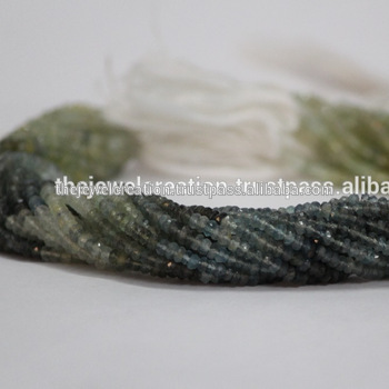 Natural Moss Aquamarine Gemstone Rondelle Beads Stone
