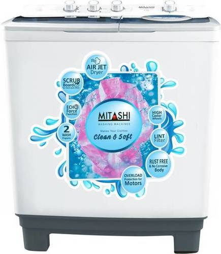 Mitashi 8.5 kg Semi Automatic Top Load Washing Machine White