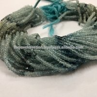 4mm Natural Moss Aquamarine Gemstone Faceted Rondelle Stone Beads