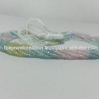 Natural Multi Aquamarine Stone Faceted Rondelle Gemstone Beads