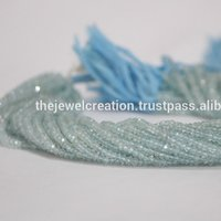 Natural Blue Aquamarine Gemstone Faceted Rondelle Beads Strand