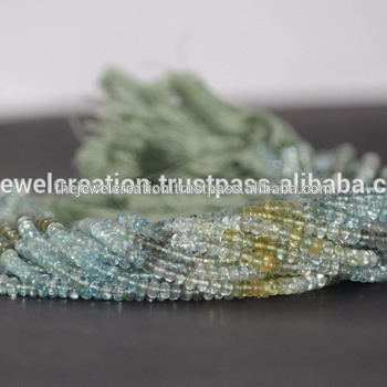 Natural Multi Moss Aquamarine Stone Smooth Gemstone Beads Strand