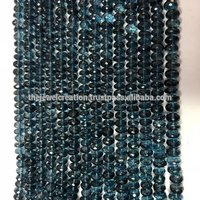 Natural London Blue Topaz Gemstone Faceted Rondelle Beads 5mm