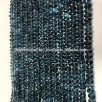 Natural London Blue Topaz Gemstone Faceted Rondelle Stone Beads