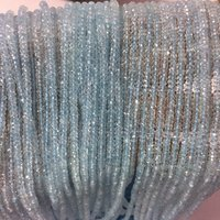 4mm Natural Blue Topaz Gemstone Faceted Rondelle Stone Beads