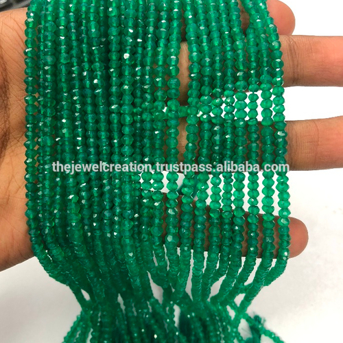 Natural Green Onyx Gemstone Faceted Beads Strand