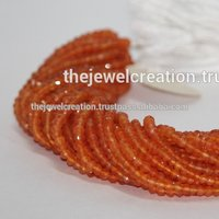 Natural Carnelian Gemstone Faceted Rondelle Beads Coraline Stone