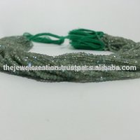 Natural Green Labradorite Gemstone Faceted Rondelle Loose Beads