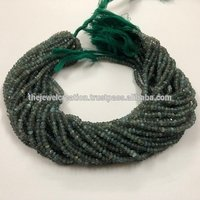 4mm Natural Green Labradorite Gemstone Faceted Rondelle Beads