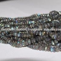 Natural AAA Labradorite Gemstone Smooth Roundel Beads Strand