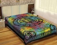 Zodiac Horoscope Psychedelic Celestial Multi color Astro Tie and Dye Indian Cotton Wall Hangings Bedspread Tapestry