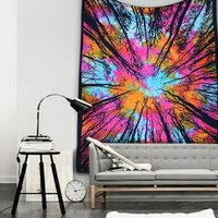 Mandala Tree of Life Multi color Indian Cotton Tie & Dye Wall Hangings Bed sheet Bedspread Home Decor Tapestry
