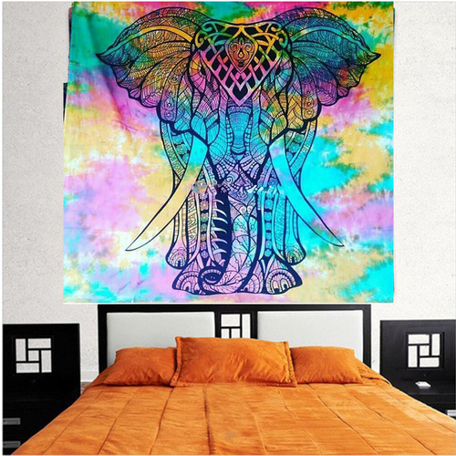 Multi color Elephant Tie Dye Printed Bedding Outlet Bedspread Bed Decor Indian 100% cotton Wall Hangings Bedsheet Tapestry Size: Queen