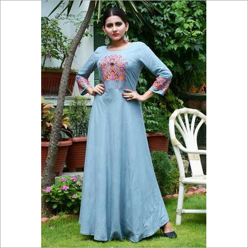 Rayon Embroidering Long Kurti