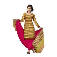chiffon dupatta with hand block printed cotton suit.
